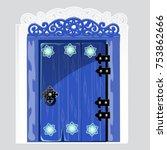 Entrance Blue Wooden Door With...
