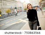 portrait of young woman waiting ... | Shutterstock . vector #753863566