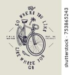city fixed gear bicycle stylish ... | Shutterstock .eps vector #753865243