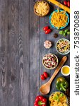 different types of pasta with... | Shutterstock . vector #753870088