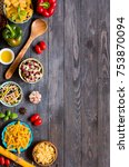 different types of pasta with... | Shutterstock . vector #753870094