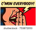 Stock vector  pop art style comic book panel girl calling and yelling out loud with speech bubble call to 753872053