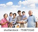 three generations family... | Shutterstock . vector #753873160