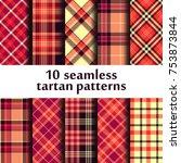 set of seamless tartan pattern | Shutterstock .eps vector #753873844