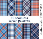 set of 10 seamless tartan...   Shutterstock .eps vector #753873856