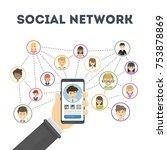 social network concept. hand...   Shutterstock . vector #753878869