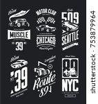 vintage muscle car  roadster... | Shutterstock .eps vector #753879964