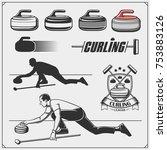 set of curling labels  emblems... | Shutterstock .eps vector #753883126