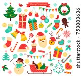 christmas retro icons set.... | Shutterstock .eps vector #753883636
