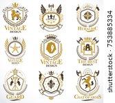heraldic vector signs decorated ... | Shutterstock .eps vector #753885334