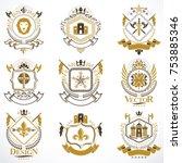 heraldic coat of arms created... | Shutterstock .eps vector #753885346