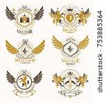 vintage heraldry design... | Shutterstock .eps vector #753885364
