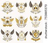 collection of vector heraldic... | Shutterstock .eps vector #753885370