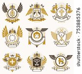collection of vector heraldic... | Shutterstock .eps vector #753885376