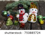 snowman and ornament in...   Shutterstock . vector #753885724