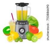 blender mixer  with fruit ... | Shutterstock .eps vector #753886690
