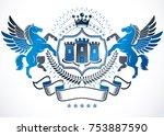 heraldic sign created with... | Shutterstock .eps vector #753887590