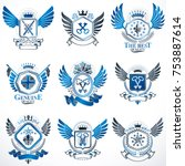 collection of vector heraldic...   Shutterstock .eps vector #753887614