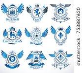 collection of vector heraldic... | Shutterstock .eps vector #753887620