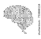 stylized brain. circuit board... | Shutterstock .eps vector #753888118