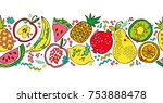 fruit border. apple  pear ... | Shutterstock .eps vector #753888478