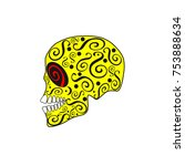 skull vector with ornament... | Shutterstock .eps vector #753888634