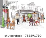 fashion people in the street... | Shutterstock .eps vector #753891790