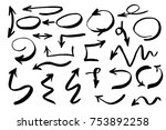 handdrawn arrows vector set... | Shutterstock .eps vector #753892258