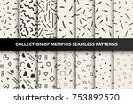 bundle of memphis seamless... | Shutterstock .eps vector #753892570