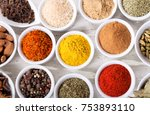 various spices and herbs for... | Shutterstock . vector #753893110