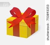 vector gift in 3d style. yellow ... | Shutterstock .eps vector #753893353