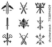vintage weapon emblems set.... | Shutterstock .eps vector #753894409
