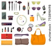 set of fashion accessories.... | Shutterstock . vector #753898498