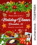 christmas dinner banner for... | Shutterstock .eps vector #753899884