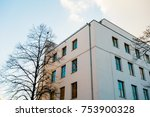 white apartment house with... | Shutterstock . vector #753900328