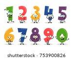 funny cartoon numbers. vector... | Shutterstock .eps vector #753900826