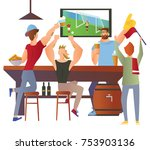 beer bar   restaurant. football ... | Shutterstock .eps vector #753903136