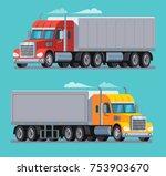 american truck trailer cargo... | Shutterstock .eps vector #753903670
