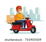 delivery man riding red motor... | Shutterstock .eps vector #753905509