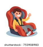 child sits in a red car seat.... | Shutterstock .eps vector #753908983