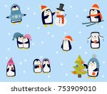 penguin christmas vector... | Shutterstock .eps vector #753909010