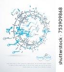 futuristic vector technology...   Shutterstock .eps vector #753909868