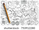 hand drawn geography vector... | Shutterstock .eps vector #753912280