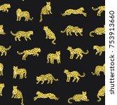 cartoon doodle leopard animal... | Shutterstock . vector #753913660