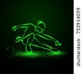 figure skating neon... | Shutterstock .eps vector #753914059