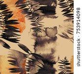 imprints leaves seamless... | Shutterstock . vector #753914098