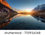 beautiful landscape with high... | Shutterstock . vector #753916168