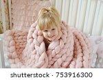beautiful little happy blond... | Shutterstock . vector #753916300
