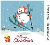 vintage christmas poster design ... | Shutterstock .eps vector #753916678