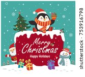 vintage christmas poster design ... | Shutterstock .eps vector #753916798